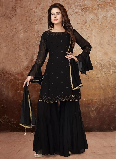 Black Embroidered Sharara Suit For Wedding