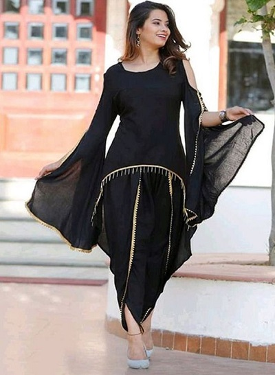 Black Salwar Suit In Lace Fabric For Ladies