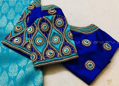 Blue and green heavy embroidered saree blouse
