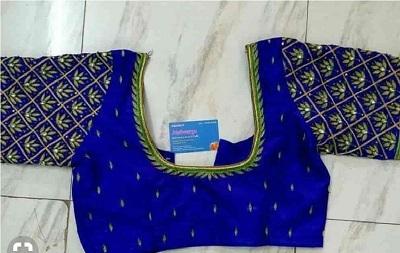 Blue embroidered blouse for parties