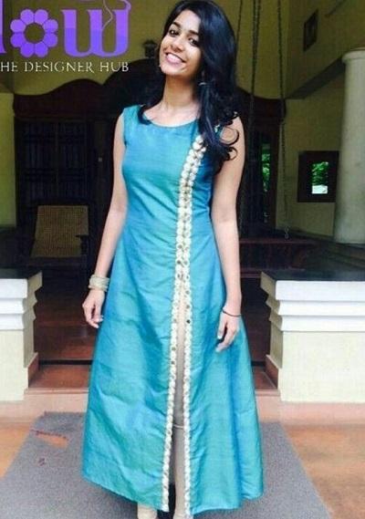 Blue side cut long kurti design