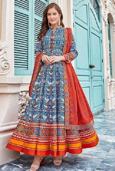 Cotton printed frock style suit with cotton dupatta