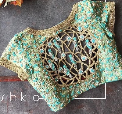 Designer cut work heavy embroidered blouse for wedding