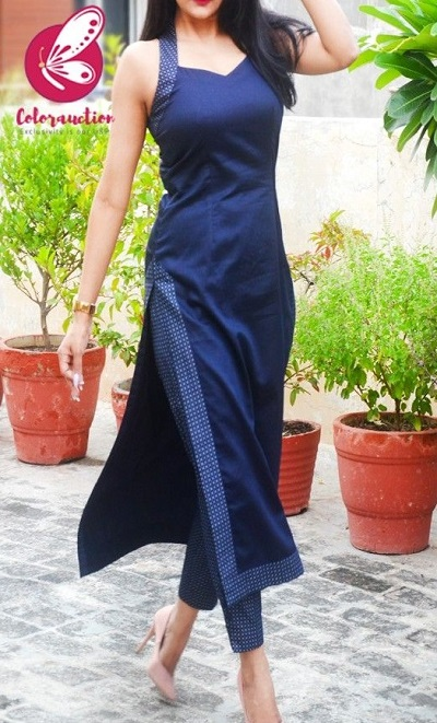 Designer straight fit long kurti with blue pants