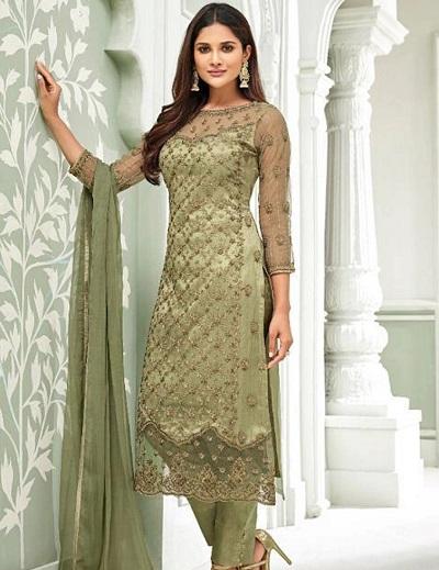 Embellished pink green salwar suit in net fabric