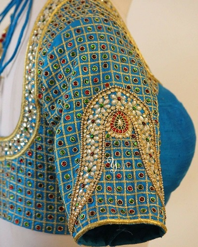 Expensive heavy embroidery blouse with stone work for brides
