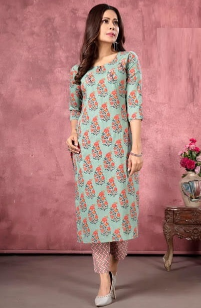 Floral printed kurti trouser set for daily wear