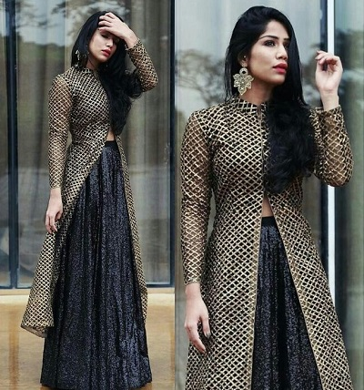 Gold long kurti with black netted skirt