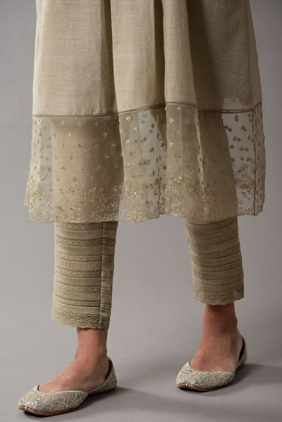 Golden ankle length pant for party wear suits
