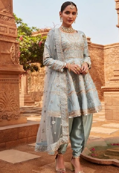 Heavily Embellished Frock Suit With Dhoti Pants And Net Dupatta