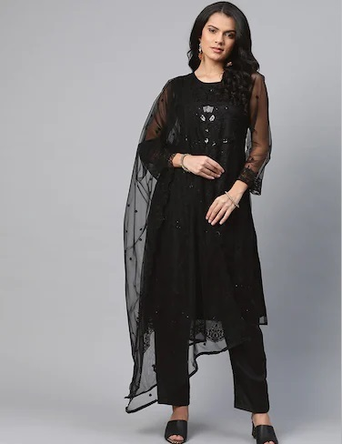 Heavy Embroidered Georgette Suit Salwar With Dupatt