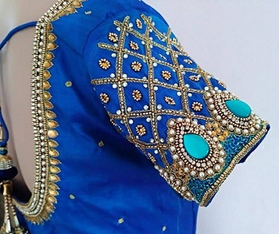 Heavy embroidered and Stone Work blouse design