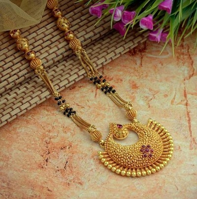 Heavy only mangalsutra design with long chain