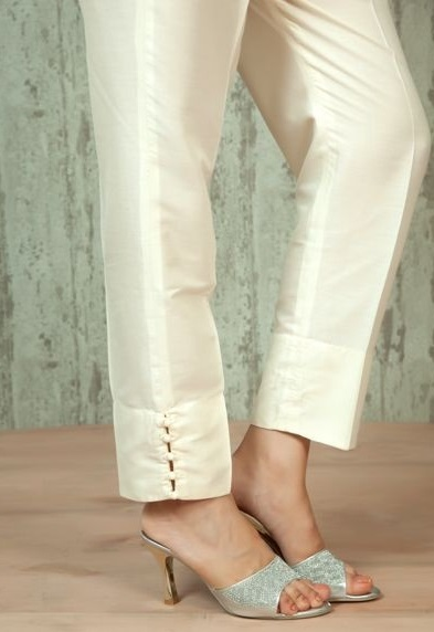 Ivory Golden stylish length pants for ladies