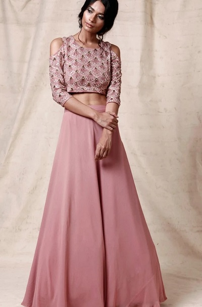 Light Lavender Crop Top With Lehenga For Wedding