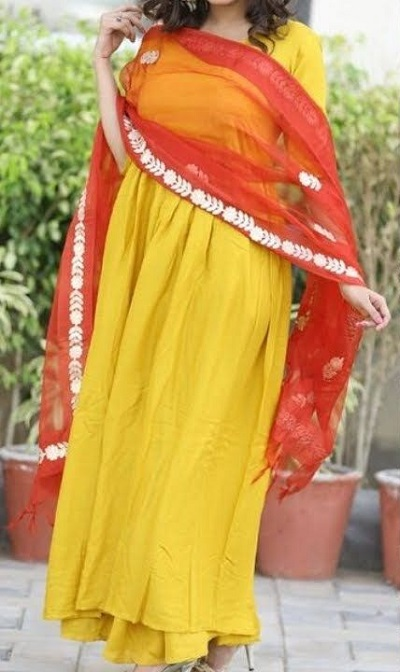 Long length yellow frock style suit with red dupatta