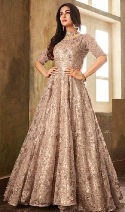 Net Indian style Golden gown with embroidery and sequin work