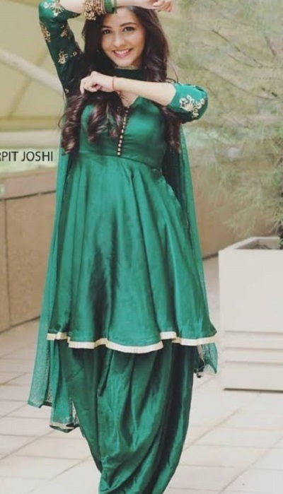 Olive Green Frock Style Suit With Punjabi Salwar