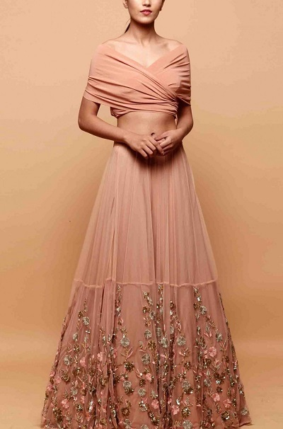 Party Wear Designer Off Shoulder Crop Top With Embroidered Net Lehenga