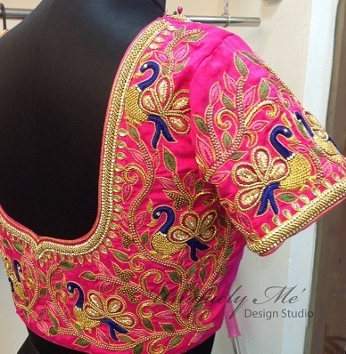 Party wear pink Silk embroidered blouse design