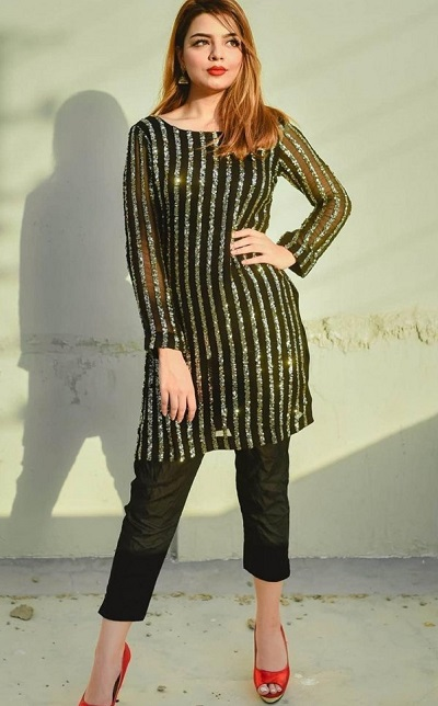 Party wear sequin studded short kurti with black trouser pants