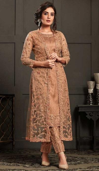Peach coloured jacket style net kurti trouser pant for wedding