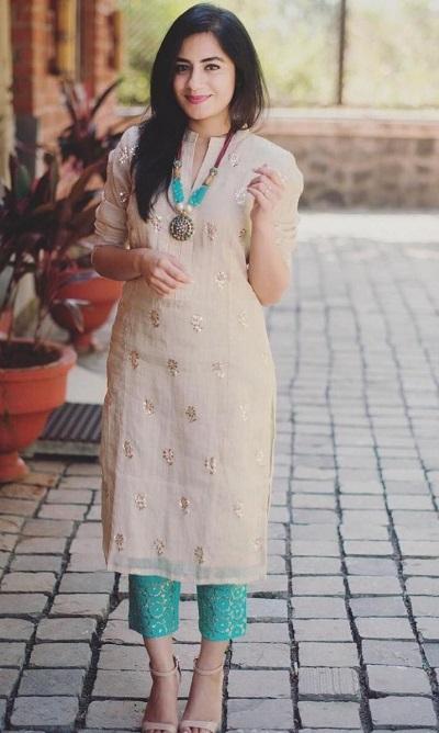 Pink and blue kurti pant set for ladies