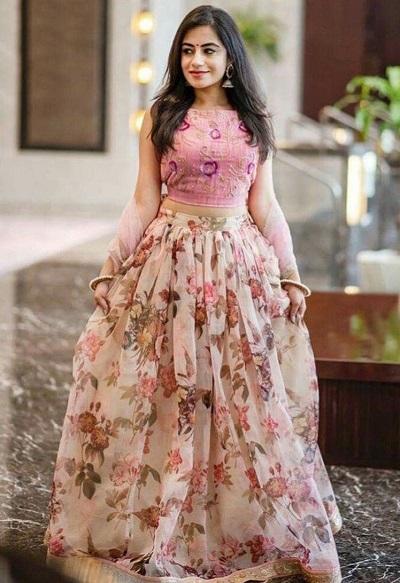 Pink crop top with printed pink Georgette skirt