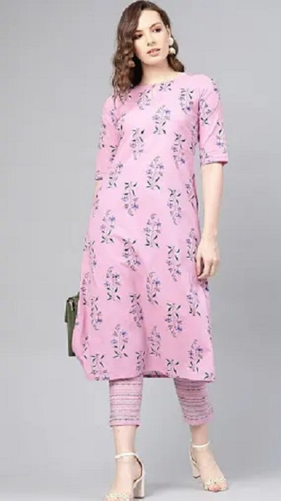 Pink printed kurti with trousers for office
