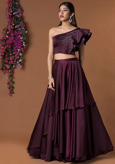 Ruffled Blouse With Multi Layered Wine Coloured Skirt