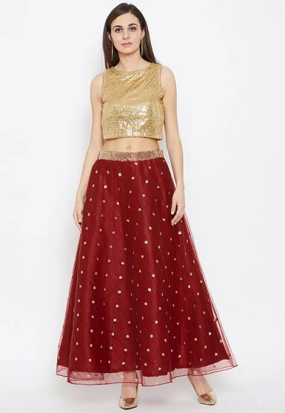 Sequin Studded Gold Blouse With Maroon Net Skirt