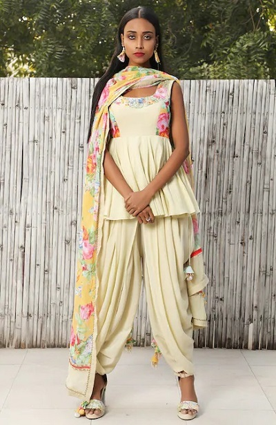 Short Tunic Frock Suit With Dhoti Pants