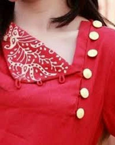 Side button placket designer kurti neck design