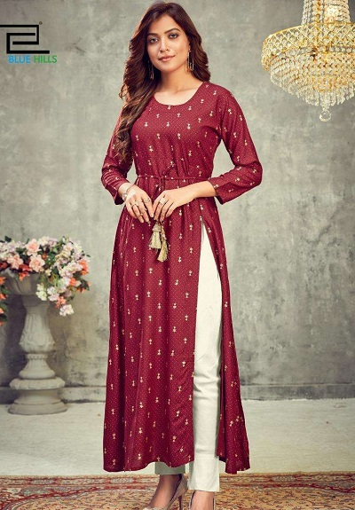 Side slit Maroon kurti with white trouser pants