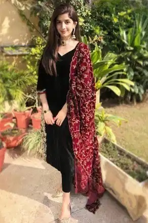 Simple Plain Black Salwar Suit With Embroidered Heavy Dupatta