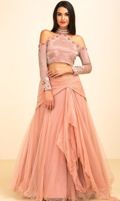 Stylish Crop Top With Layered Lehenga For Parties