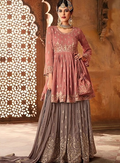 Stylish Frock Suit With Sharara And Dupatta