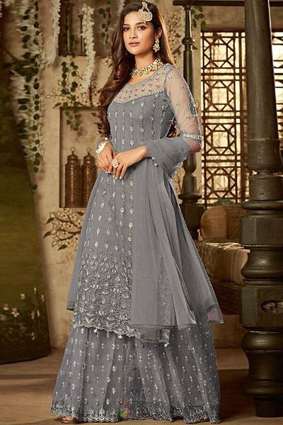 Stylish Net grey colour Sharara suit for party