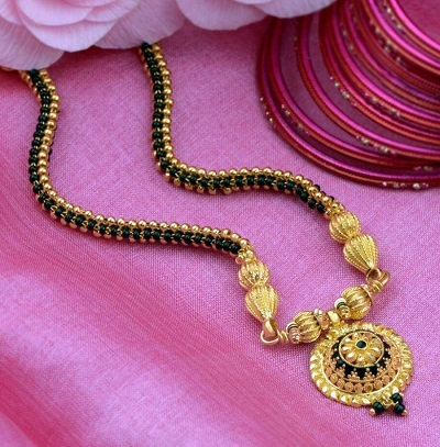 Stylish Side Chain Mangalsutra Pattern With Circular Centre Pendant