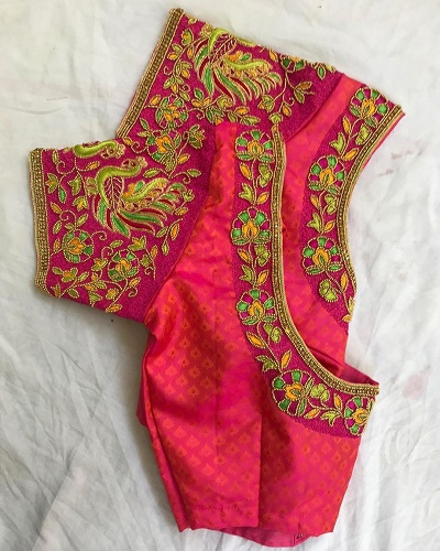 Stylish carrot pink embroidered and blouse pattern