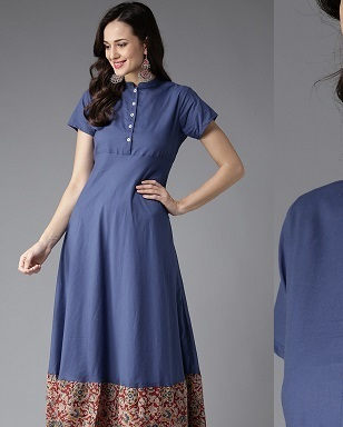 Stylish high neckline with Centre button placket for kurti