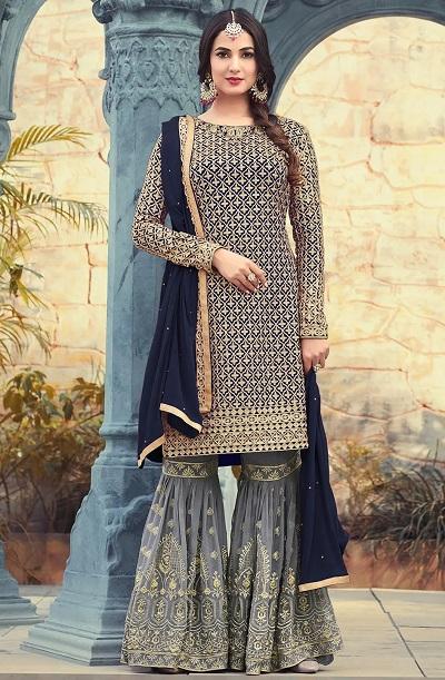 Thread work net kurti Sharara dress