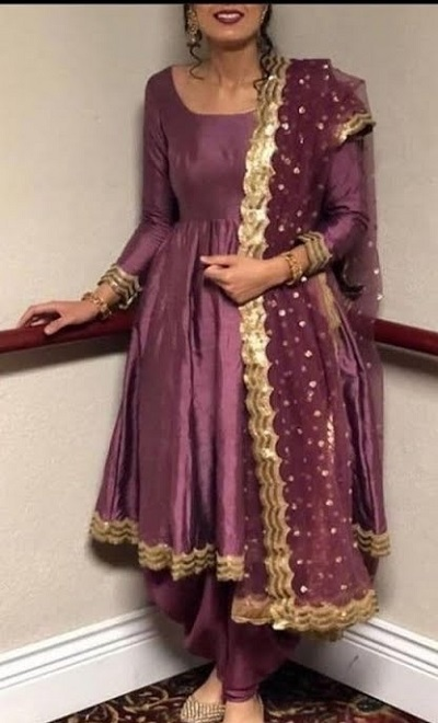 Wine Coloured Frock Style Satin Suit With Net Dupatta For Parties
