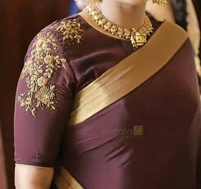 Wine coloured embroidered blouse for parties
