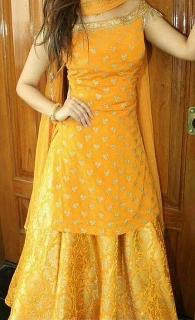 Yellow Designer Party wear kurti with brocade A line skirt