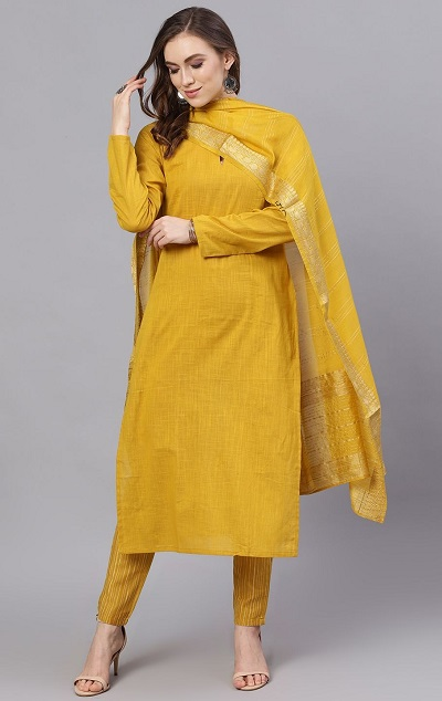 Yellow full sleeves kurti with trousers and cotton dupatta