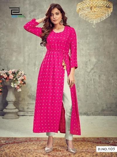 Party Wear Long Kurta With Side Cut And Trouser