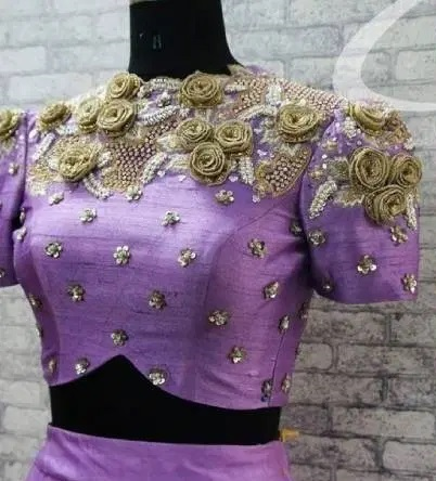 Purple heavy embroidered blouse for sarees and lehenga