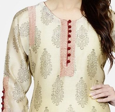 Round piping neckline with potli Button placket