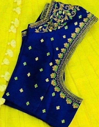 Royal blue embroidered blouse for silk sarees